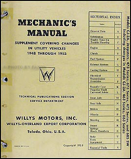 1948-1953 Willys Repair Manual Original Supplement