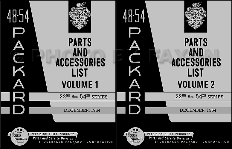 1948-1954 Packard Master Parts Book Reprint with illustrations 2 Volume Set