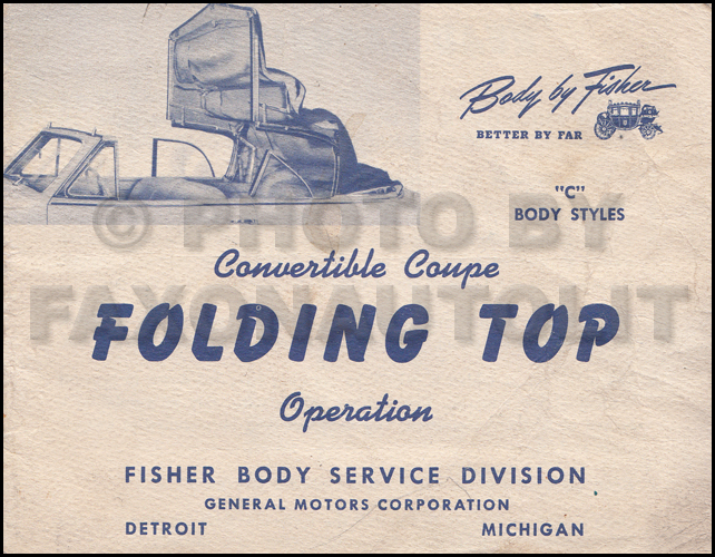 1948 Buick Convertible Top Owner's Manual Original