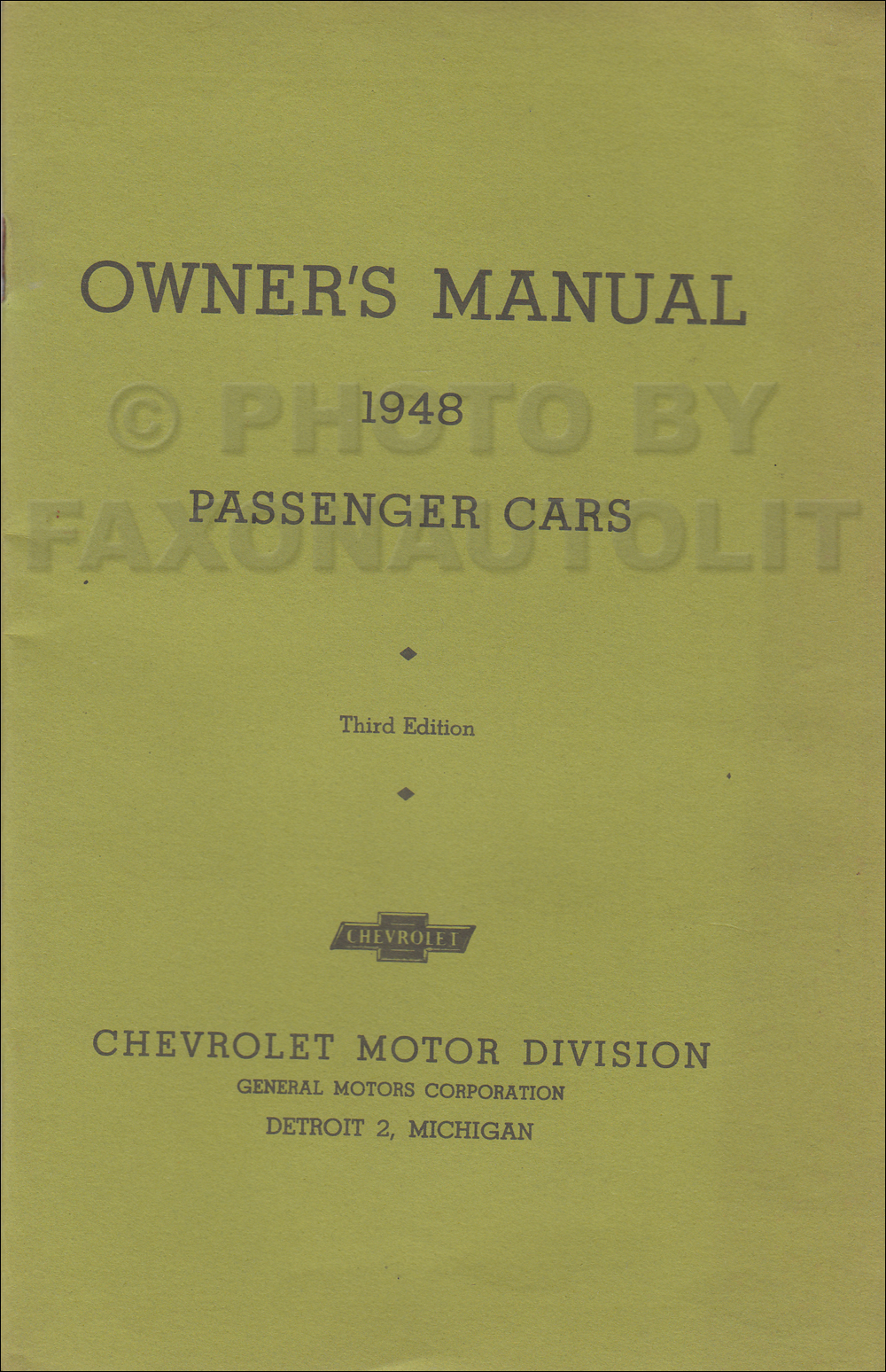 1948 Chevrolet Car Owner's Manual Reprint, Older Edition