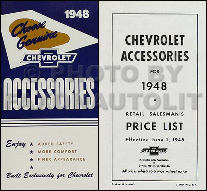 1948 Chevrolet Car Reprint Accessory Catalog Set