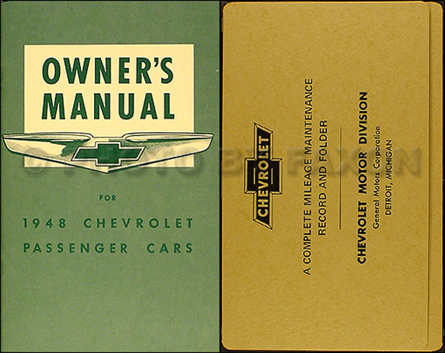 1948 Chevrolet Car Reprint Owner's Manual Package