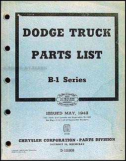 1948 Dodge Pickup and Truck Parts Book Original B1