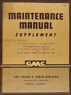 1948 GMC 100-450 Repair Manual Original Supplement