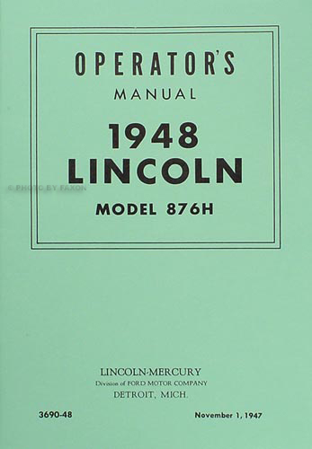 1948 Lincoln Owner's Manual Reprint