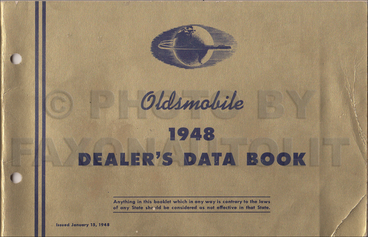1948 Oldsmobile Dealer Data Book Original