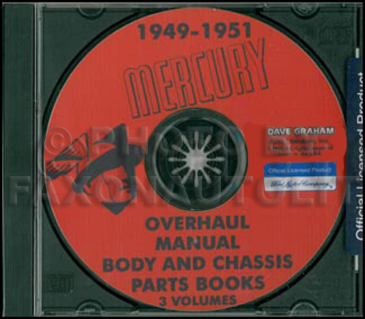 1949-1950-1951 Mercury CD-ROM Shop Manual & 49-50 Parts Books