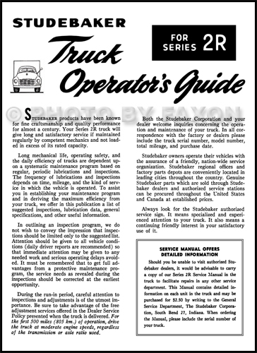 1949-1953 Studebaker Truck 2R Owner's Manual Reprint