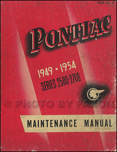 1949-1954 Pontiac Shop Manual Original-- All Models