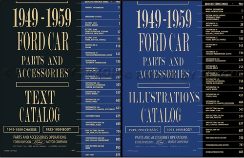 1953-1959 Ford Car Illustrated Parts Book Reprint Set