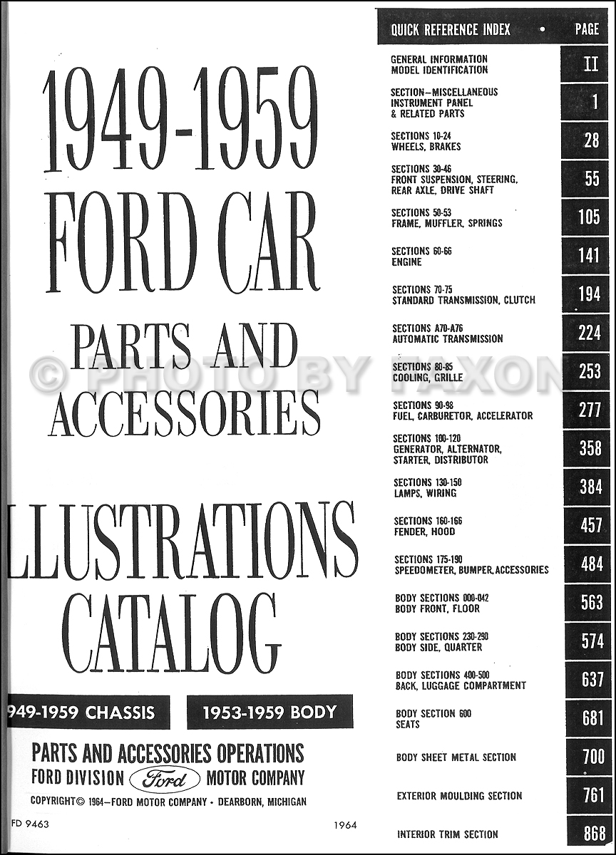 1953 1959 Ford Car Illustrated Parts Book Reprint Set Wiring Diagram Customline Tudor Table Of Contents Page 2