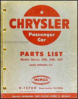 1949 Chrysler Parts Book
