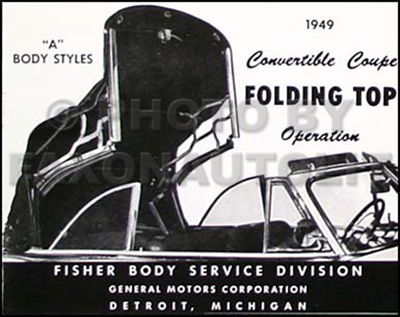 1949 GM Convertible Top Owner's Manual Reprint