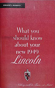 1949 Lincoln & Cosmopolitan Owner's Manual Reprint