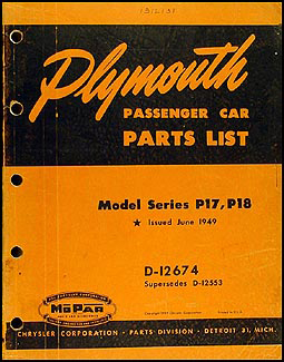1949 Plymouth Car Original Parts Book
