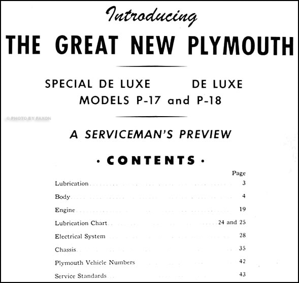 1949 plymouth repair shop manual original