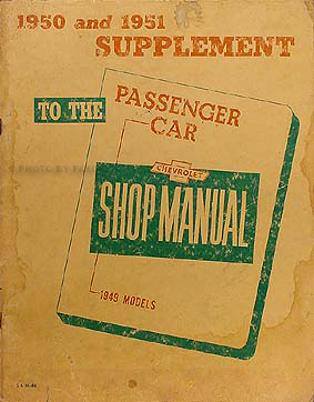 1951 Chevrolet Shop Manual Original Supplement