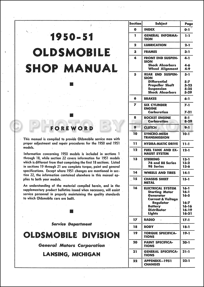 1950 1951 oldsmobile repair shop manual original. Black Bedroom Furniture Sets. Home Design Ideas