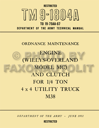1950-1952 Jeep M38 Engine and Clutch Rebuild Manual Reprint TM91804A