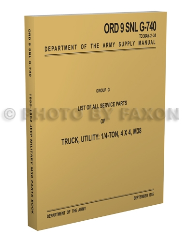 1950-1952 Military Jeep M38 Illustrated Parts Book Reprint ORD9SNLG740