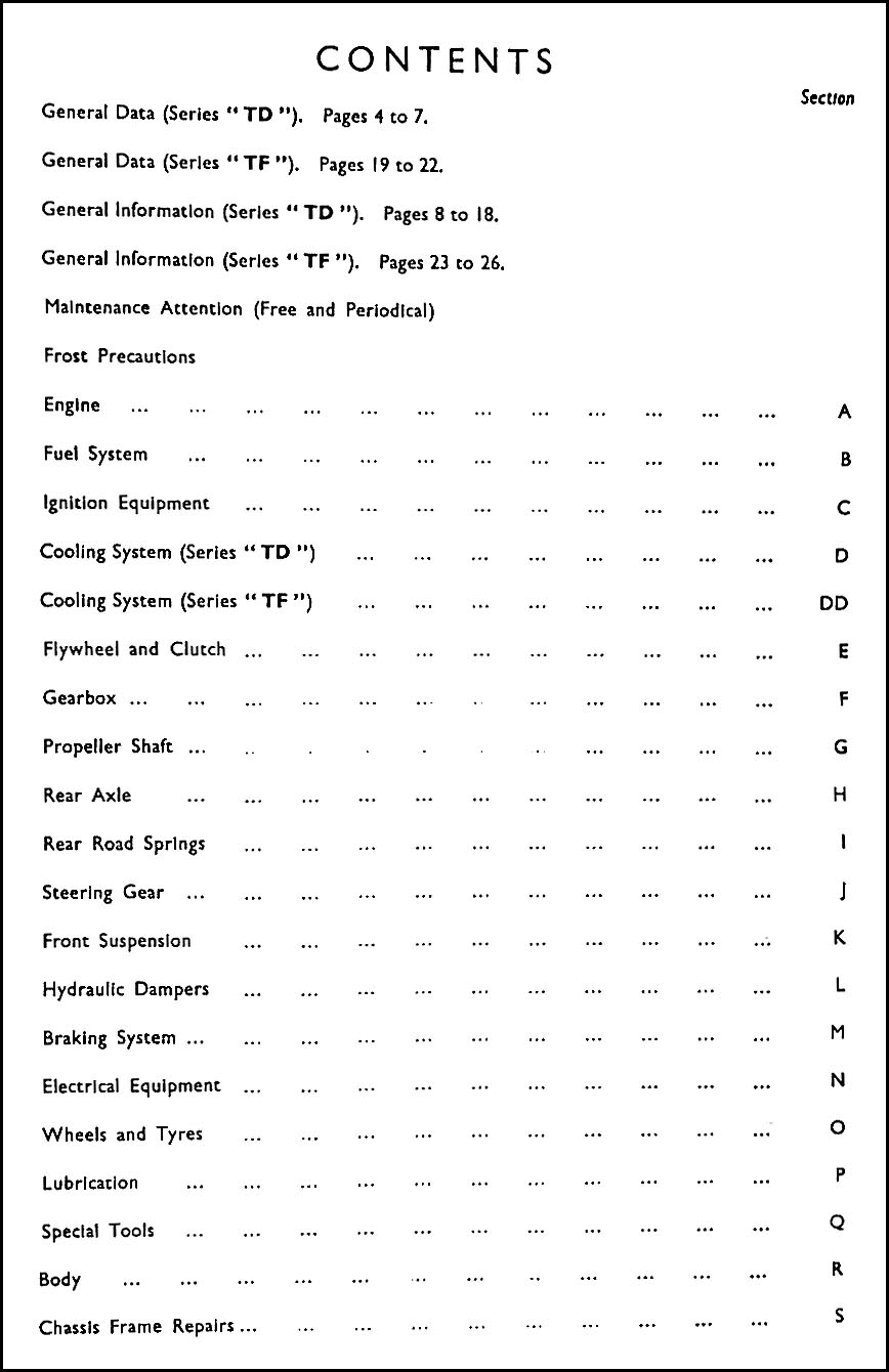 1950 1955 Mg Midget Td And Tf Repair Shop Manual Original Rhd Wiring Diagram Table Of Contents