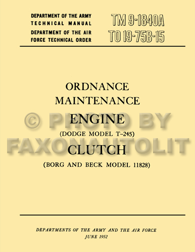 1950-1969 Dodge Military M37 Engine and Clutch Manual Reprint
