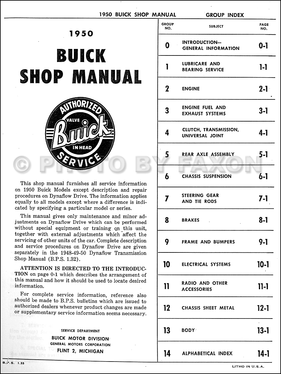 1927 buick wiring diagram 1950    buick    repair shop manual reprint  1950    buick    repair shop manual reprint