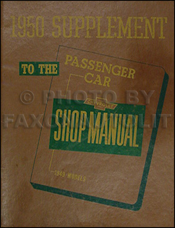 1950 Chevrolet Repair Shop Manual Original Supplement
