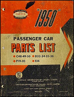 1950 Chryco CANADIAN Parts Book Orig. Chrysler De Soto Dodge Plymouth