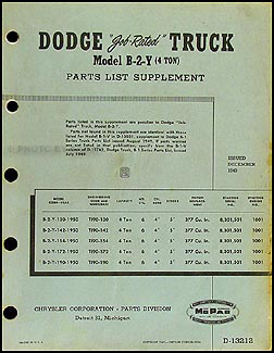 1950 Dodge 4 ton Truck Parts Book Original Supplement B-2-Y