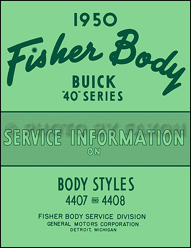 1950 Buick Special 40 Series Body Repair Manual Reprint