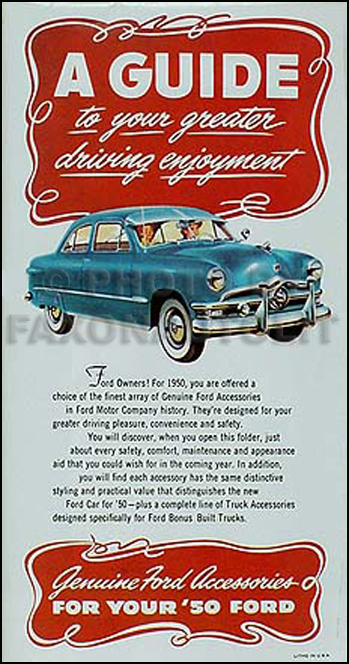 1950 Ford Reprint Accessory Brochure 50 Car, Pickup, & Truck