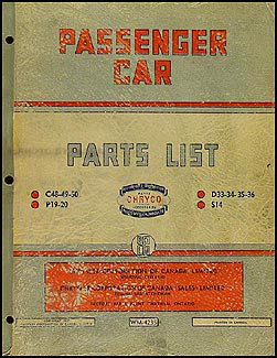 1950 Chryco Car Parts Book Original Canadian