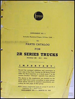 1951-1952 Studebaker 2R Series Trucks Parts Catalog Supplement #2
