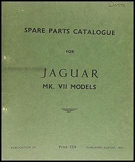 1951-1954 Jaguar Mark VII Parts Book Original
