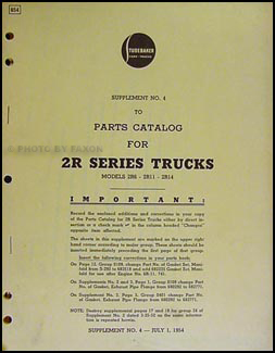 1951-1953 Studebaker 2R Series Trucks Parts Catalog Supplement #3