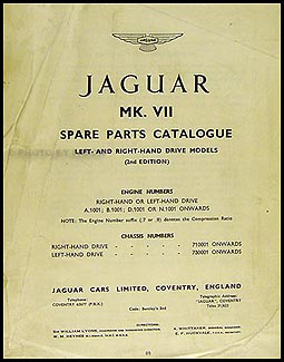 1951-1957 Jaguar Mark VII and VIIM Parts Book Original