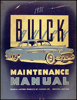Canadian 1951 Buick Shop Manual Original