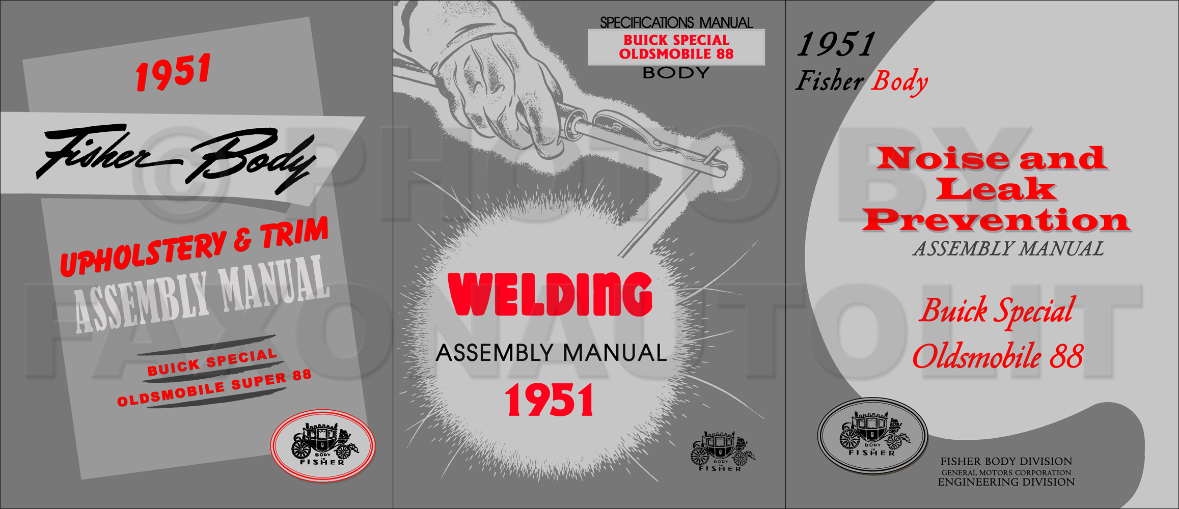1951 Fisher Body Assembly Manual Set - Buick Special/Oldsmobile Super 88