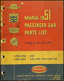 1951 MoPar Parts Book Original