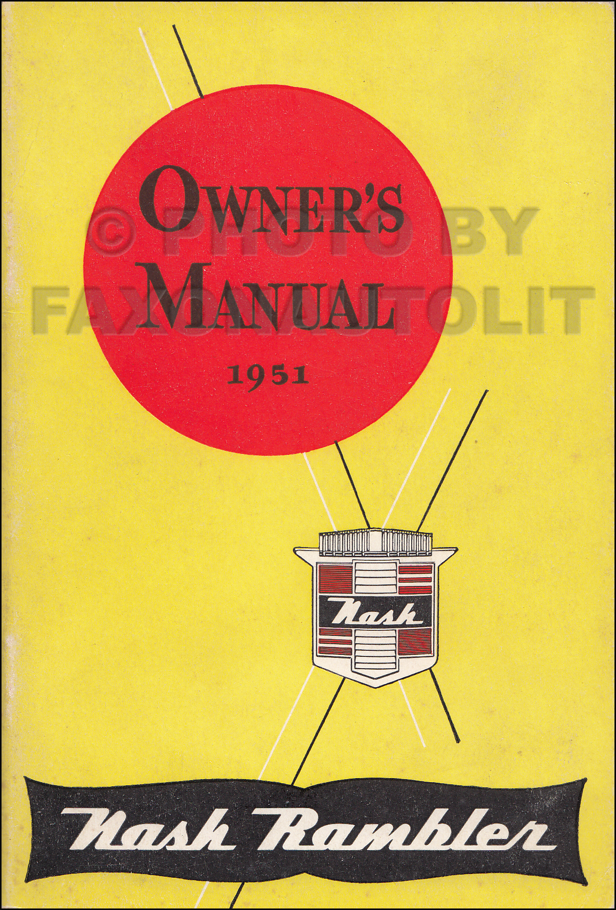1951 Nash Rambler Owner's Manual Original Early Edition