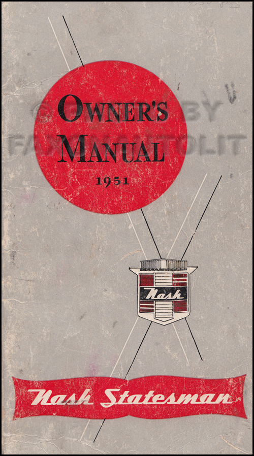 1951 Nash Statesman Owner's Manual Original