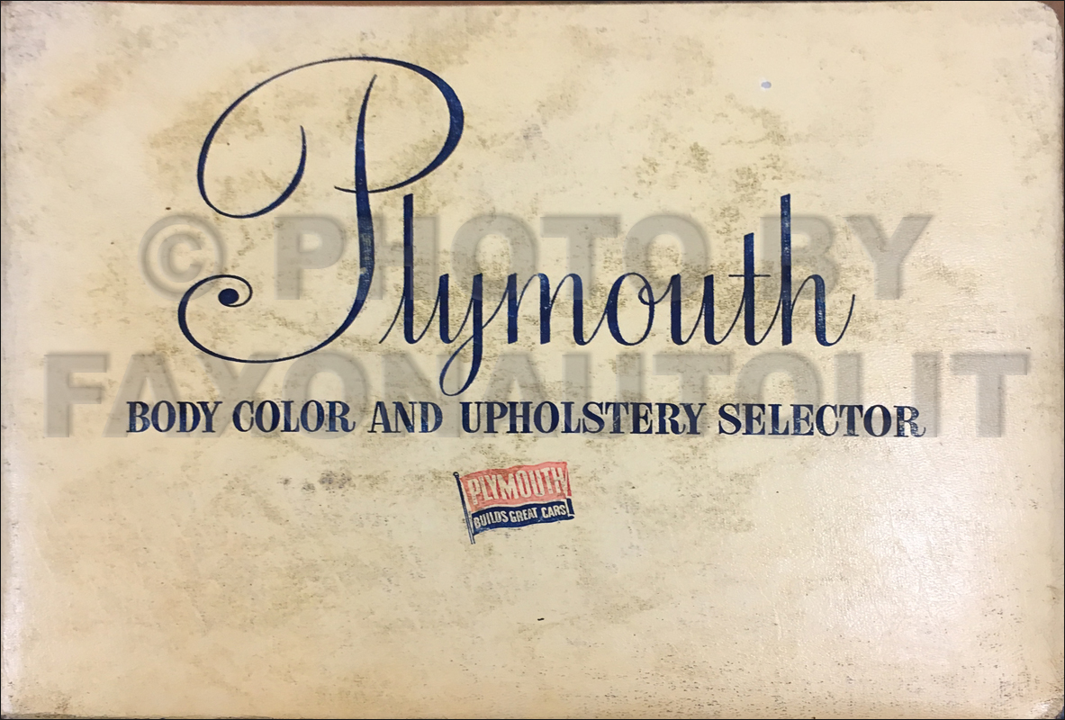 1951 Plymouth Color & Upholstery Dealer Album Original