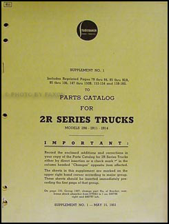 1951 Studebaker 2R Series Trucks Parts Catalog Supplement #1