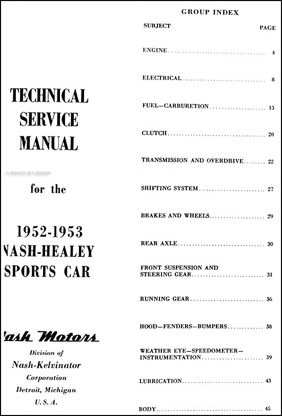 1952-1953 Nash-Healey Shop Manual Reprint Supplement