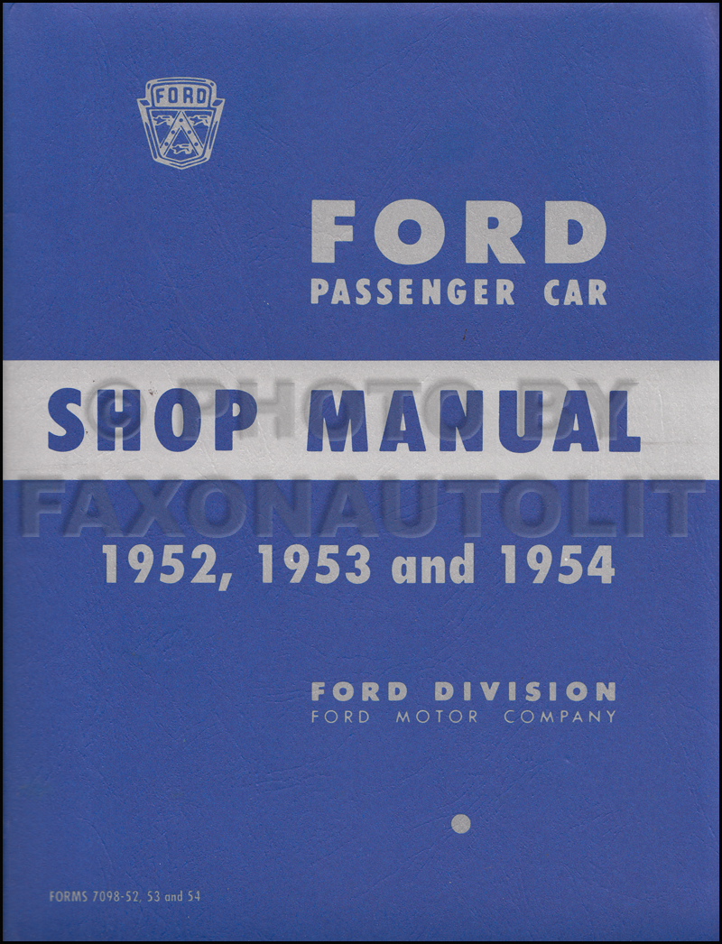 1952-1954 Ford Car Shop Manual Reprint