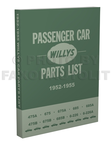 1952-1955 Willys Aero Car Master Parts Book Reprint