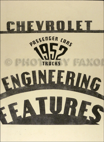 1952 Chevrolet Car and Truck Engineering Features Manual Reprint