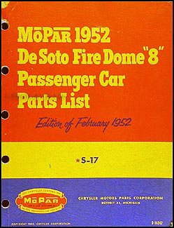 1952 De Soto Fire Dome 8 Parts Book Original Preliminary DeSoto