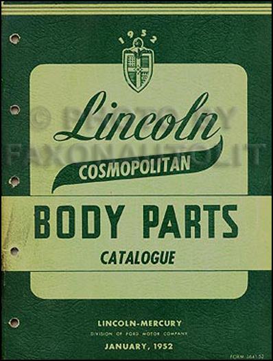 1952 Lincoln Cosmopolitan Body Parts Book Original